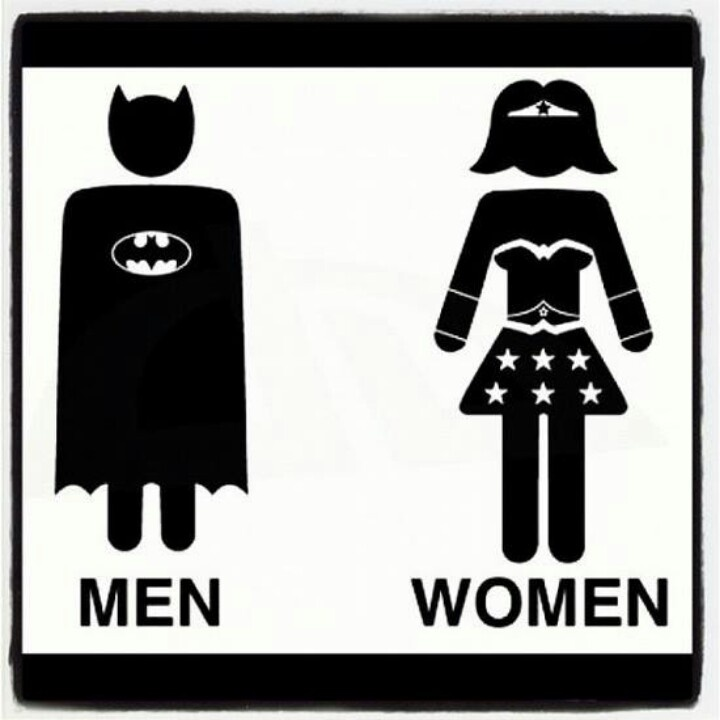 sign for geeks with batman for males and wonderwoman for females or