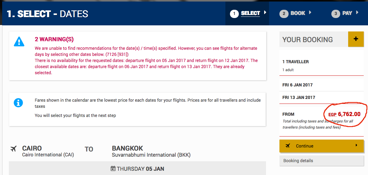 Egyptair Bangkok is 6760 despite the website saying there's an offer on Bangkok