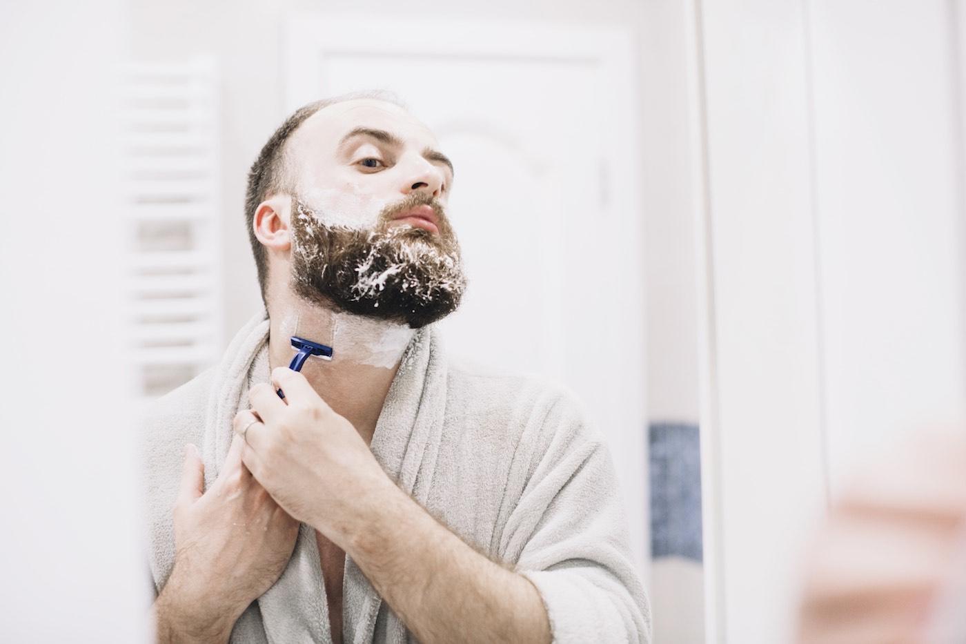 shave beard bathroom