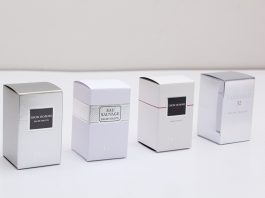 Silver Foiled Luxury Perfume Packaging and Boxes with Black Inserts