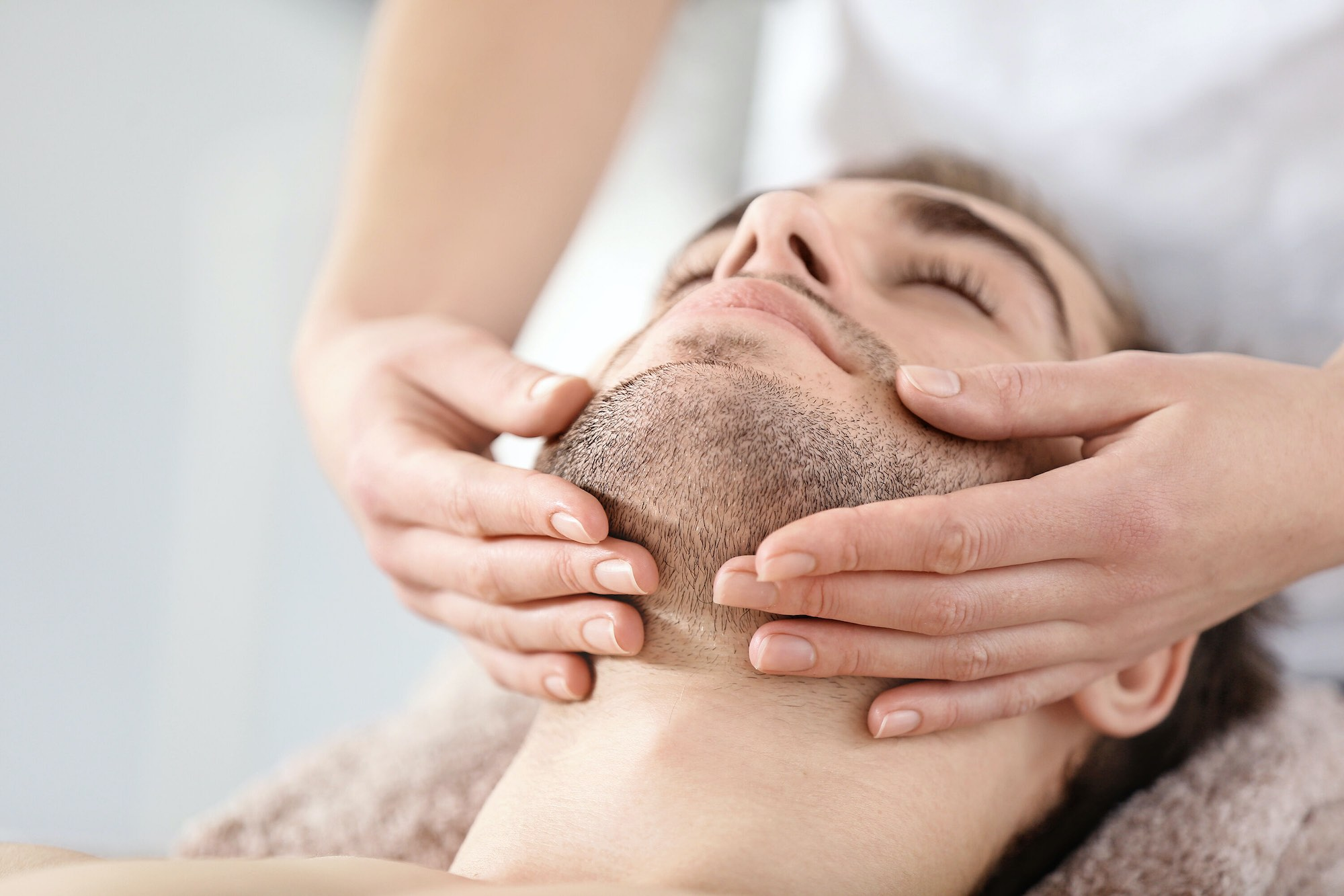 Men's face massage