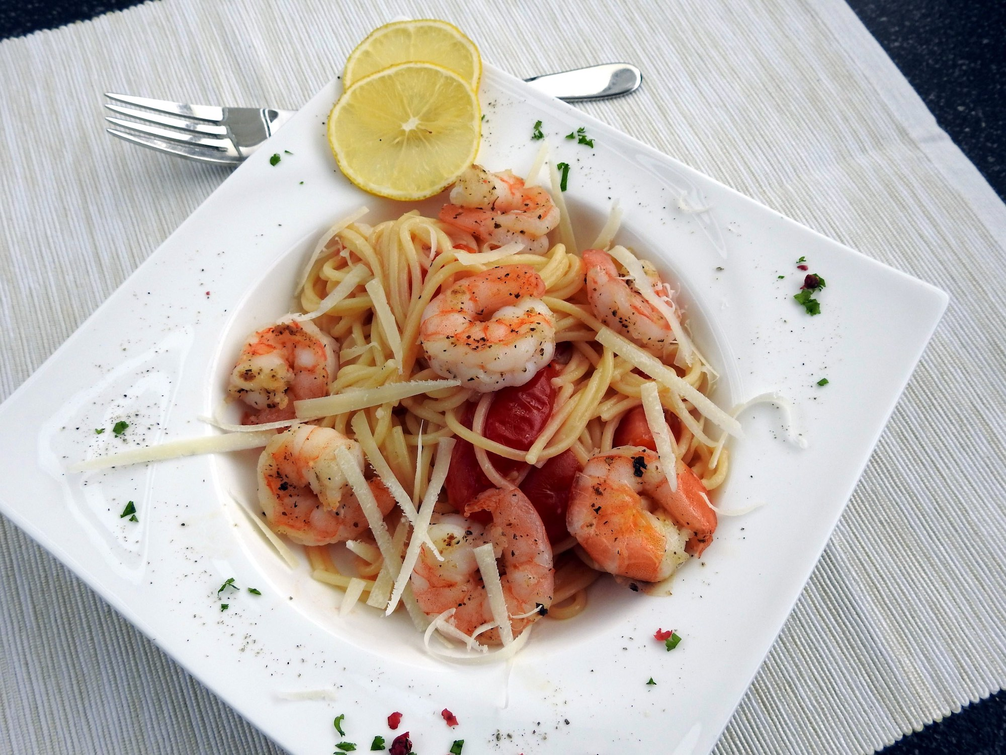 Pasta with Garlic Shrimp