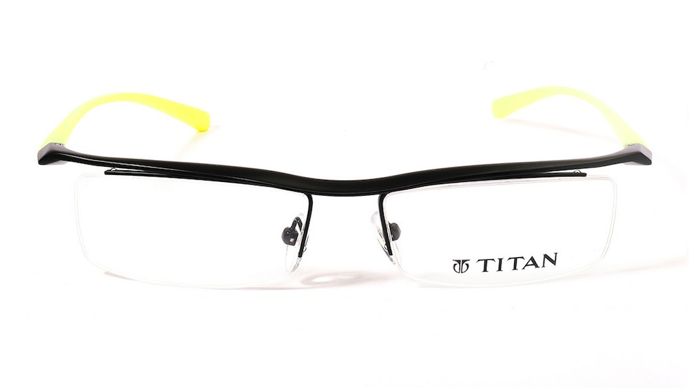 Black Rectangle Semi-Rimmed Eyeglasses