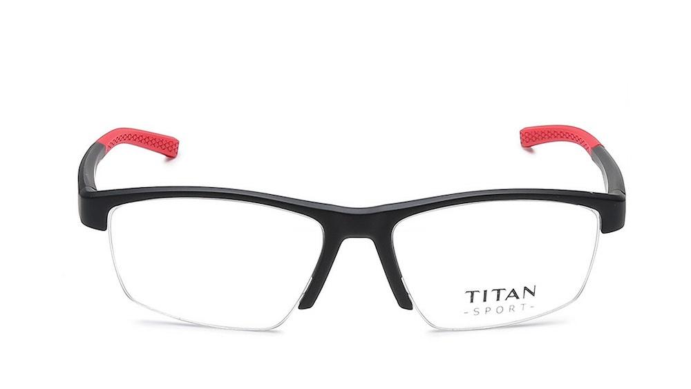 Black Rectangle Semi Rimmed Eyeglasses